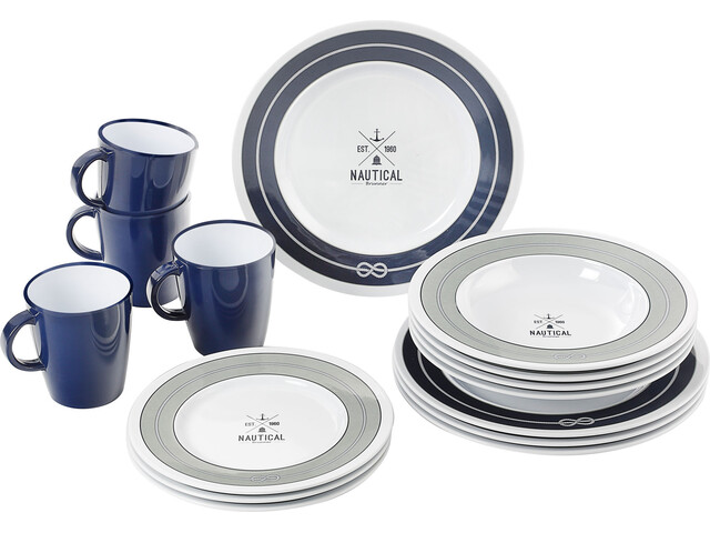 Brunner Dinner Service Dishes Set 16 Pieces, azul/gris